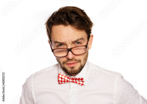 Old-fashioned nerdy businessman