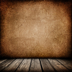 Grunge paper wall with wood floor interior background