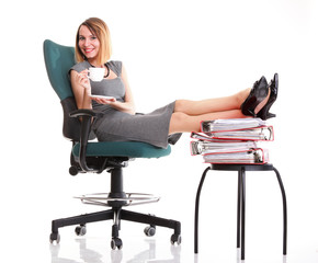 Woman work stoppage businesswoman relaxing legs up plenty of doc
