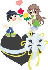 プレゼントのハートの上で一輪のバラを交換し合う、男の子と女性。
