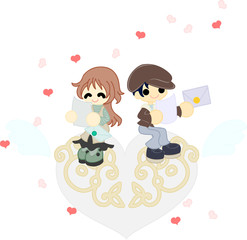 白いハートのオブジェの上で、お互いに交換した手紙を読む夫婦。