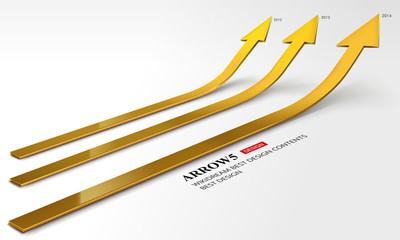 3D gold arrow grow up comparison set
