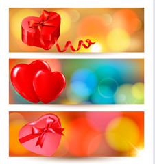 Set of beautiful valentine gift cards with red gift bows with ri
