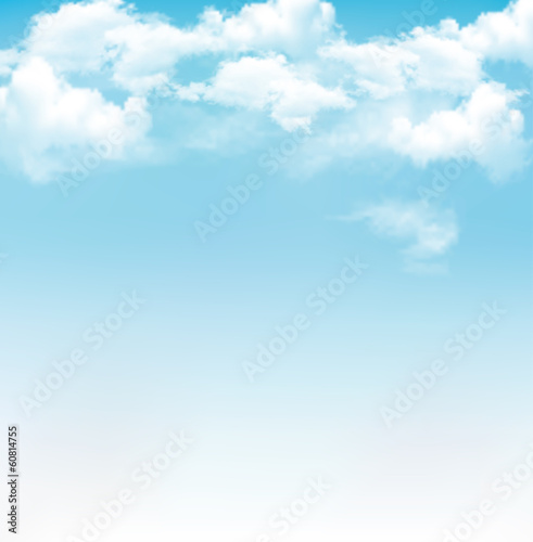 Fototapeta Blue sky with clouds. Vector background