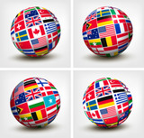 Flags of the world in globe. Vector illustration.