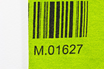 bar code printed  a green on my cloth