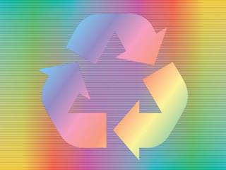 recycle icon over spectrum background
