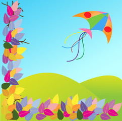 kites in meadow
