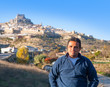 Latin tourist in spain at Morella in Valencian community