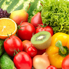 collection fruits and vegetables background