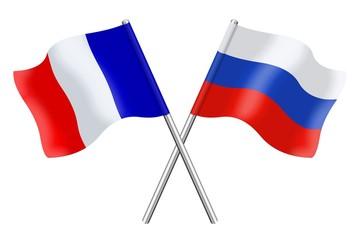 Drapeaux : duo France Russie