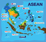 Cartoon map of Asean, asia, AEC