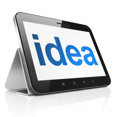 Advertising concept: Idea on tablet pc computer
