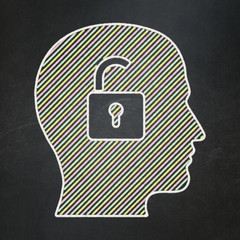 Business concept: Head With Padlock on chalkboard background