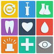 Icons of the white paper.set of medical icons on colorful backgr