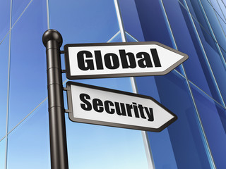 Protection concept: sign Global Security on Building background