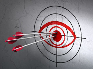 Safety concept: arrows in Eye target on wall background