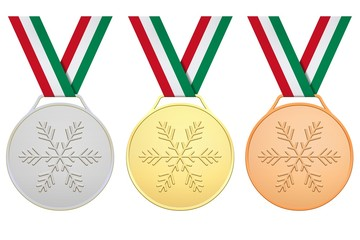 Medals with red white green ribbon for Winter games