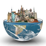 Travel the world glass monuments concept
