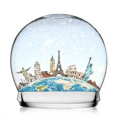 Travel the world monuments snowball concept