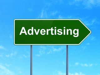 Advertising concept: Advertising on road sign background