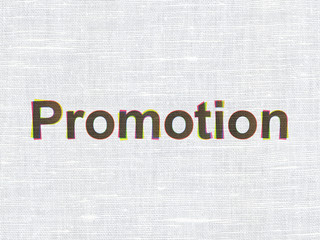 Advertising concept: Promotion on fabric texture background
