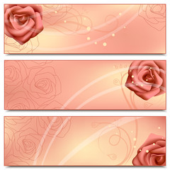 Floral banners with roses
