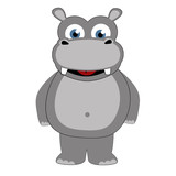 Hippopotamus in caricature cartoon style