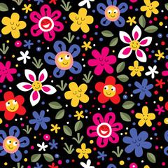happy flowers seamless pattern