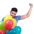 happy winner of a bunch of baloons celebrating