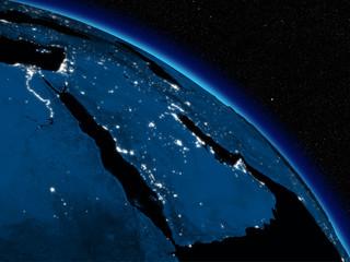 Night over Arabian peninsula