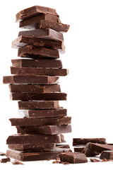 Dark chocolate bars stack