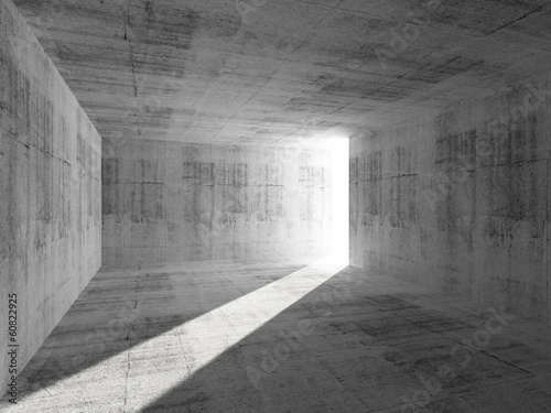 Abstract empty concrete room interior with light beam