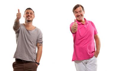 Zwei Männer, Daumen oben