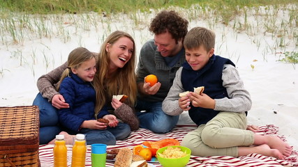 Happy family having a picnic on the beach
