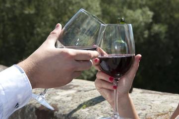 Brindis con vino tinto