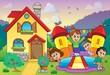 Children playing near house theme 3