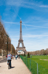 The Eiffel Tower and cyclist