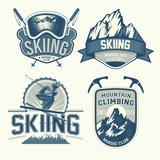Set of nordic skiing and mountaineering badges