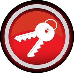 Красная векторная иконка с изображением ключей