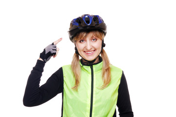 cyclist girl pointing to the helmet