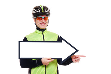 Cyclist holding the signpost blank pointing with finger