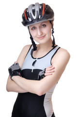 woman cyclist in gloves, helmet and blue jersey