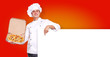 Chef  with pizza and  blank on orange background