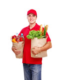 Grocery delivery courier in red uniform