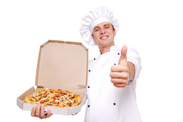 Chef holding the pizza in a box showing thumbs up
