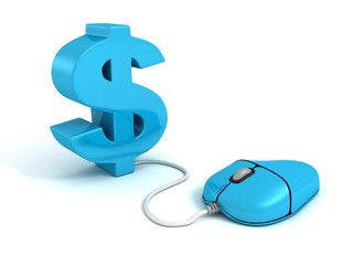 blue 3d dollar symbol connected to a computer mouse