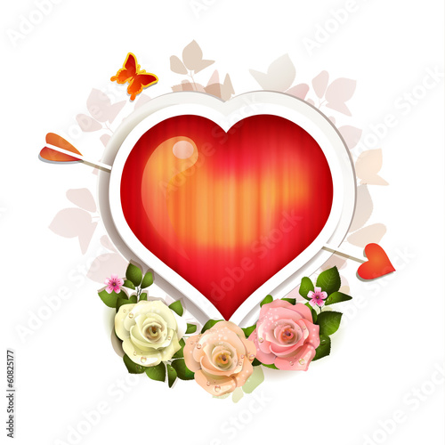 Background with heart and roses for Valentine's