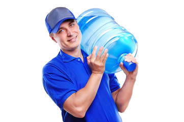 Water delivery courier holding a bottle on his shoulder