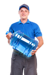 Courier of bottled water delivery service holding the bottle